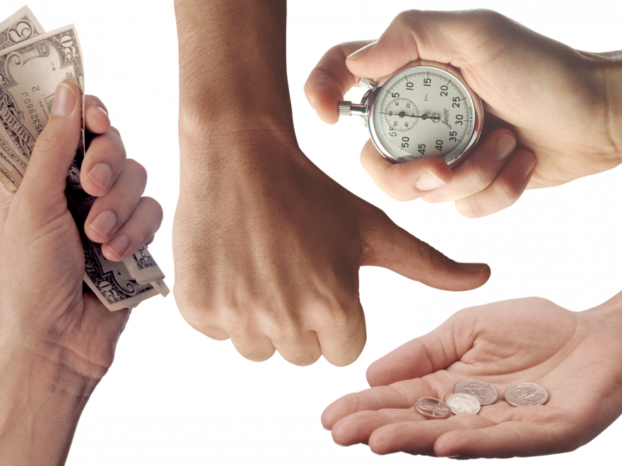 Hands, money, coins and a clock